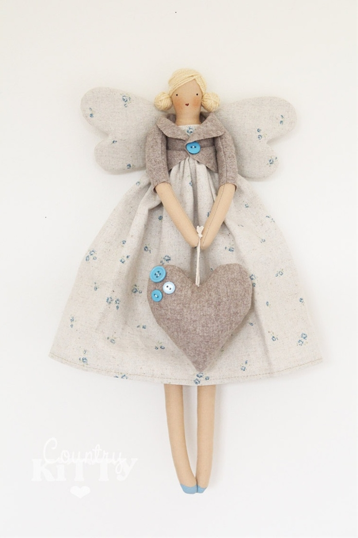 Fairy angel doll in grey and blue shades with little roses fabric and wool heart