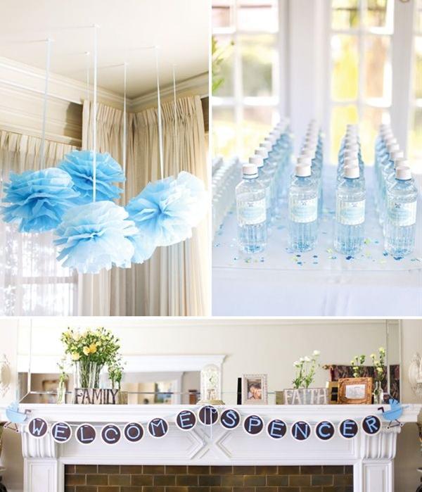 white florals in mismatched vases + Baby blue tissue pom chandelier