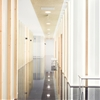 Frosted glass and dark marble walls partition  Sendagrup Medical Centre by Pauzarq