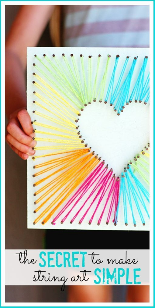 ove this diy rainbow string art idea project using yarn! it'll make fun girls bedroom decor \n\n
