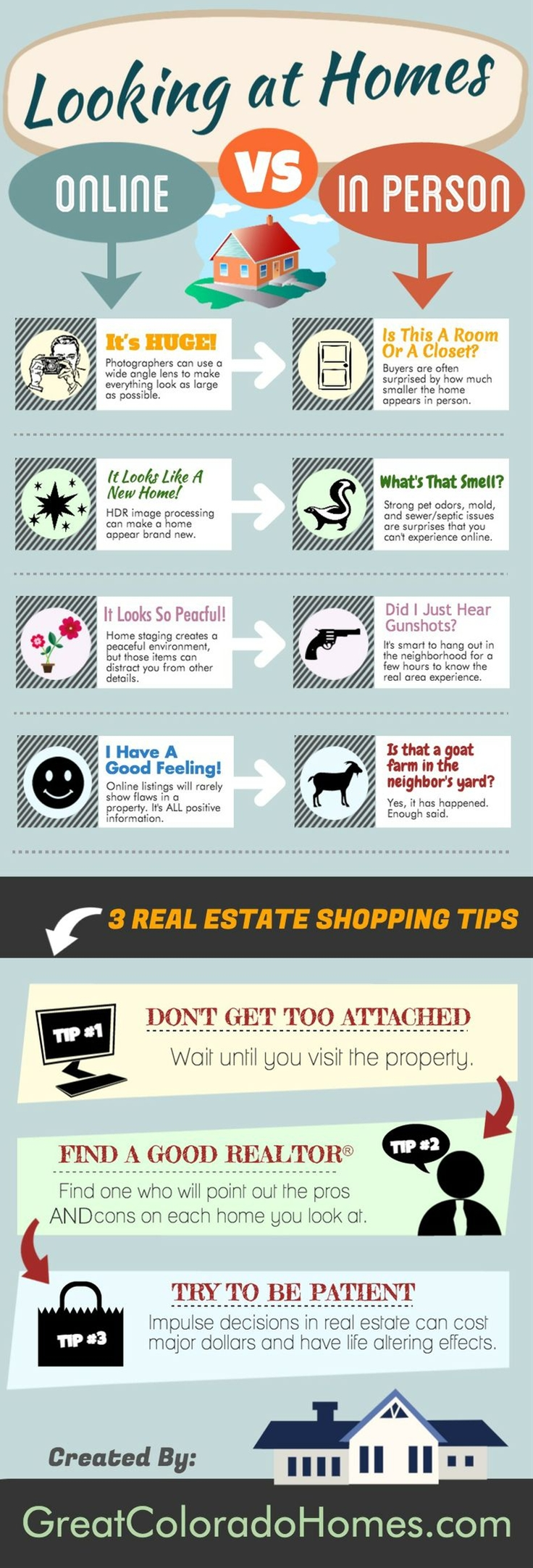 This is a great Real Estate infograph explaining the difference between looking at homes online VERSUS in person.
