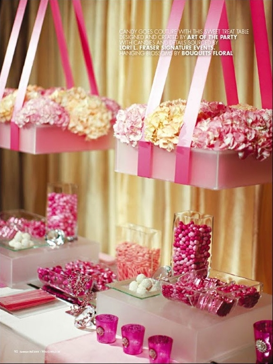 Suspended flower boxes over table <3 from Art of the Party, Lori L Fraser, and Bouquets Special Event Floral #dessert #table #buffet #party #bridal #wedding #baby #shower #pink #yellow #white #flowers #box #hanging #ribbon #hydrangea #candy #glass #frosted