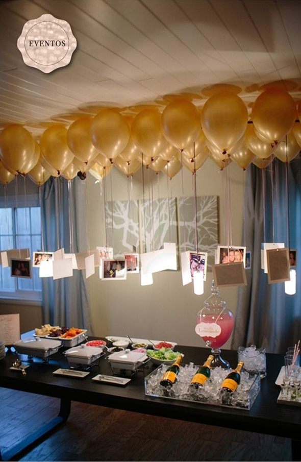 I love how the balloons and photos served as a unique display for pictures.