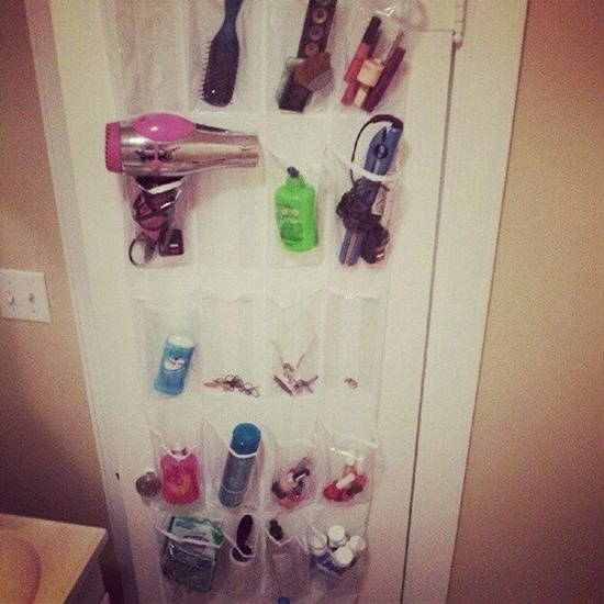 An over-the-door holder can hold more than just shoes. If your bathroom is limited when it comes to storage space, here's a way to keep toiletries, hair dryers, brushes, and more organized.