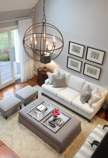 35 Amazing Neutral Living Room Designs With Grey Wall And White Sofa Table Chair Chandelier And Brown Rug And Glass Door And Wooden Floor
