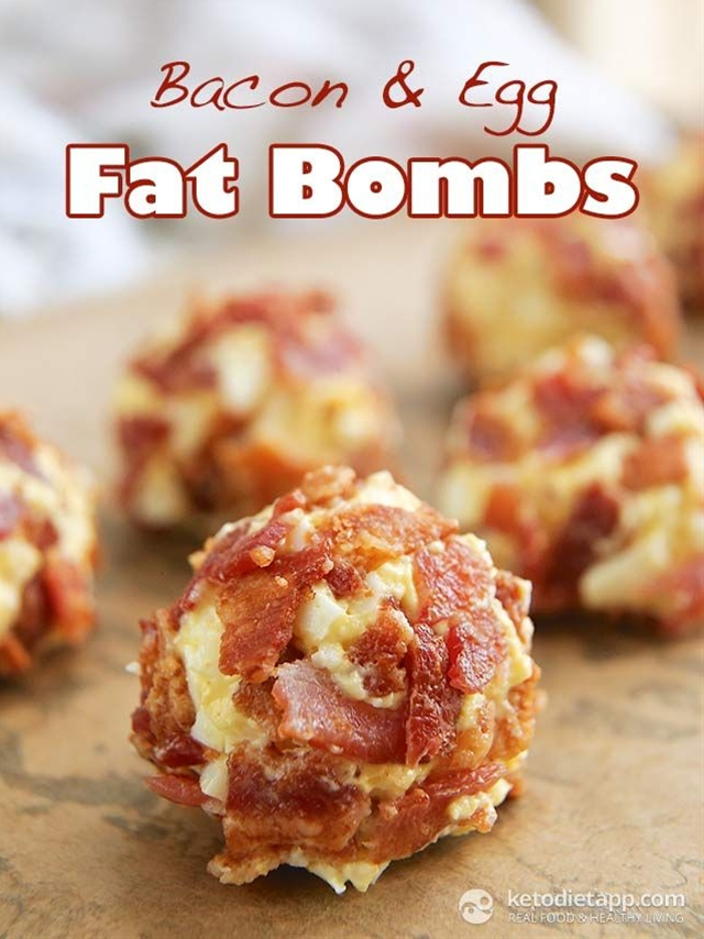 I think that savoury fat bombs are simply better, as they are more sating and don't seem to trigger cravings.\n\n Ingredients:\n 2 large eggs, free-range or organic\n ¼ cup butter or ghee, softened at room temperature - you can make your own ghee (55 g / 2 oz)\n 2 tbsp mayonnaise (you can make your own)\n freshly ground black pepper\n ¼ tsp salt or more to taste (I like pink Himalayan)\n 4 large slices bacon (120 g / 4.2 oz)