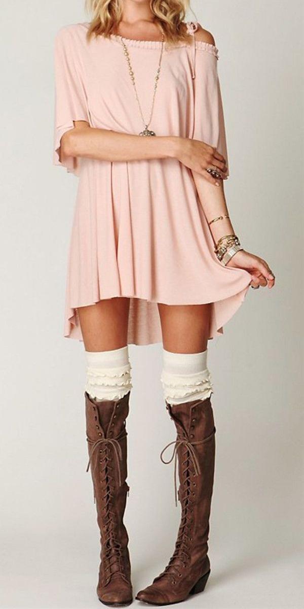 Off the shoulder dress, Knee high socks & Knee high lace up boots