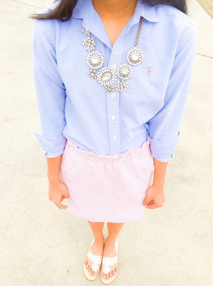 Seersucker skirt and glam statement necklace