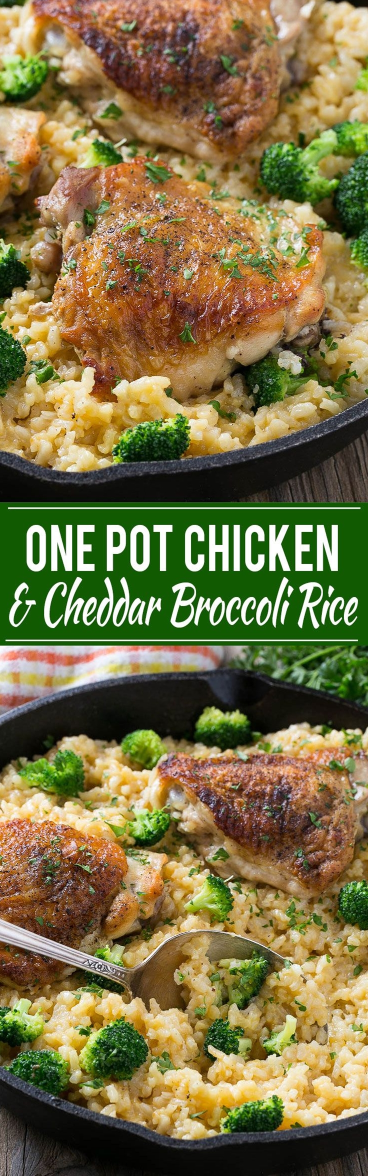 This one pot chicken with cheddar broccoli rice combines classic flavors for a quick and easy dinner. Chicken thighs are cooked with a creamy cheesy broccoli cheddar rice for a complete meal without all the cleanup.\n\n