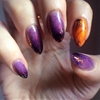 The cauldron spilled over. Purple ombre / jelly sandwich, bottom —› top: • Zoya Miley • L'Oreal Lilac Coolers • L'Oreal Berry Nice • Max Factor Fantasy Fire • Kleancolor Chunky Holo Black Orange swirl...