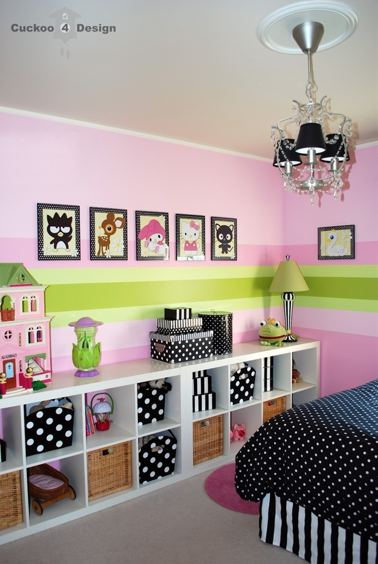 black/white polka dots and striped containers - expedit bookshelves