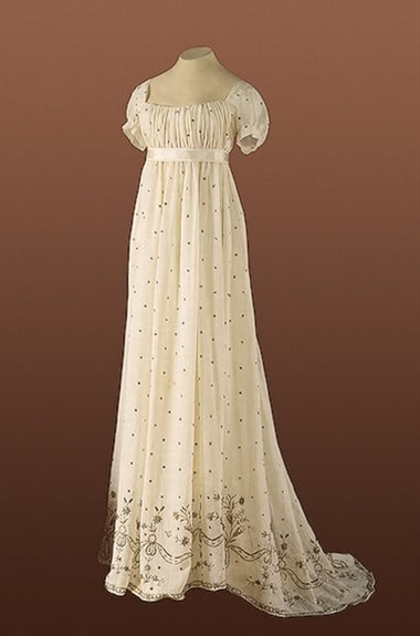 1805 White cotton regency gown