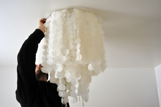 "homemade ""seashell"" chandelier made out of wax paper"