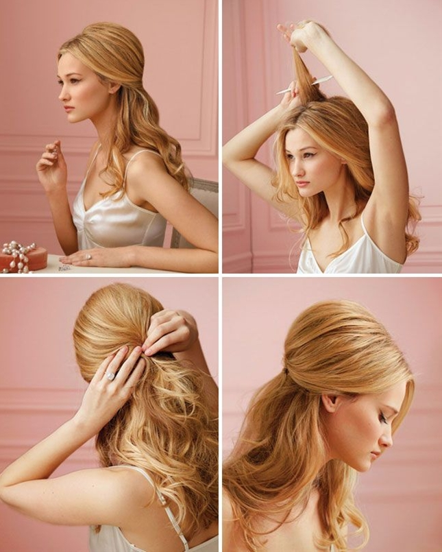 Curling your hair makes it way easier to pin up to create dos like this one.