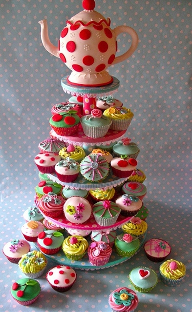 Vintage Tea Cupcake Tower