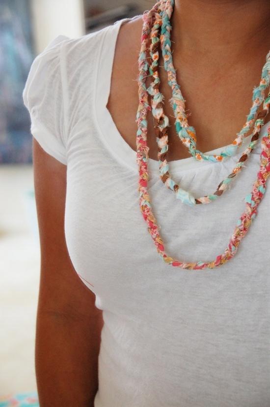 fabric scrap necklaces