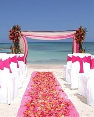 Pink Beach Wedding  #Wedding