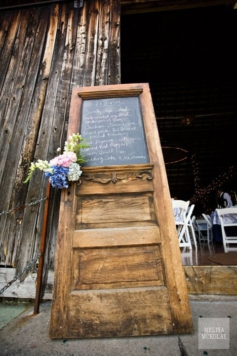 Old door with chalkboard paint over the window.  I think I might just love that.