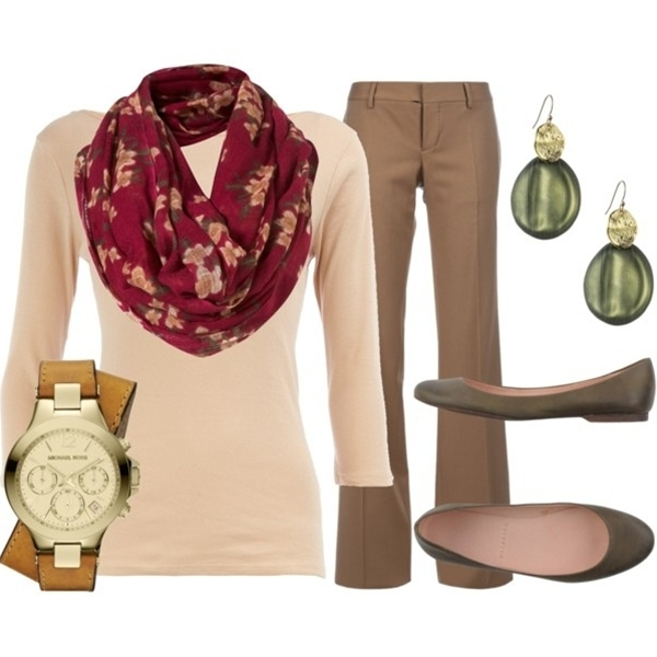 with tan neutrals and a pop of pink. Scarves seem to dress up any outfit, and they're great for keeping warm in the fall!