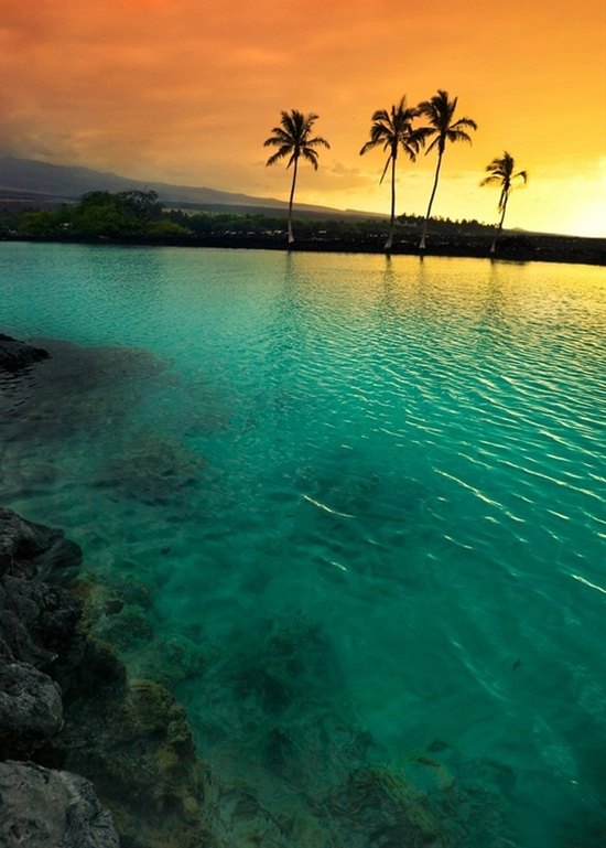 Sunset at Kiholo Bay on the Kohala Coast of the Big Island of Hawaii