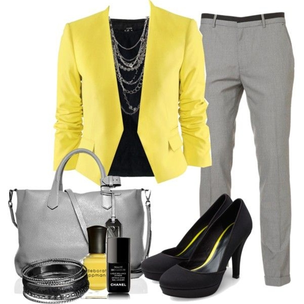 colored blazer, grey pants, chain necklace - spring.
