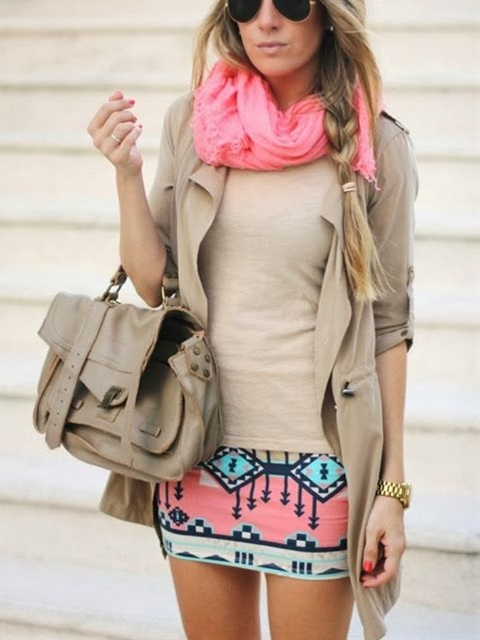 pink scarf and tribal skirts.