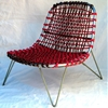Upcycled rattan chair using retired climbing rope