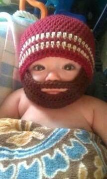 Crochet Baby Boy Beanie with Beard Hat