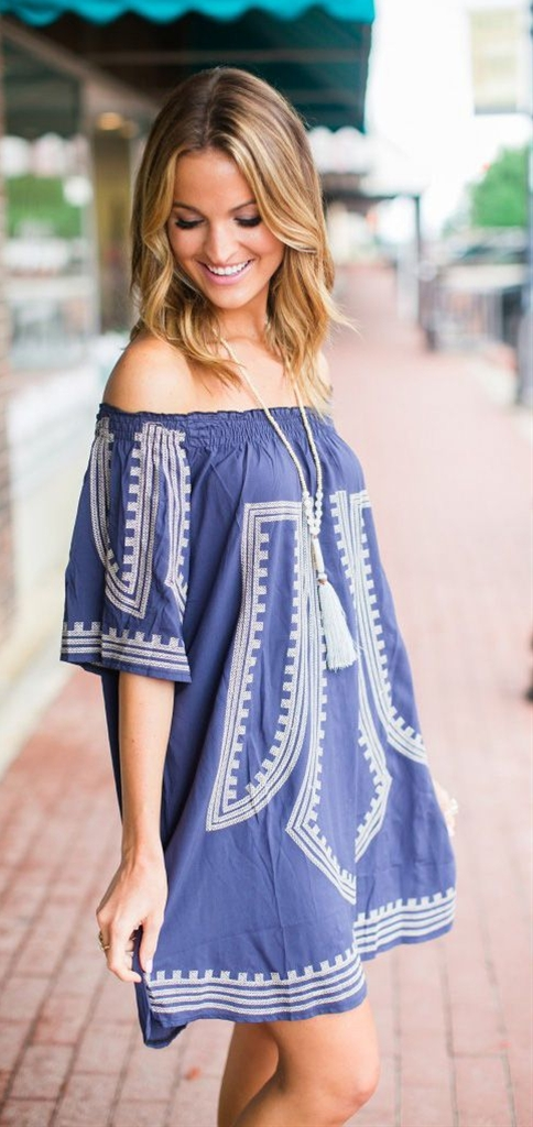 This bohemian tunic is just so chic! Enhanced with cross-stitch embroidery and touched with ruffled elastic off-shoulder, this breezy tunic looks as cheerful as the blooms this spring!Let your hair hang down and put the top back on the convertible in this pretty design! @laurenkaysims