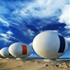 Mobile egg-shaped beach huts installed along a South Korean shoreline