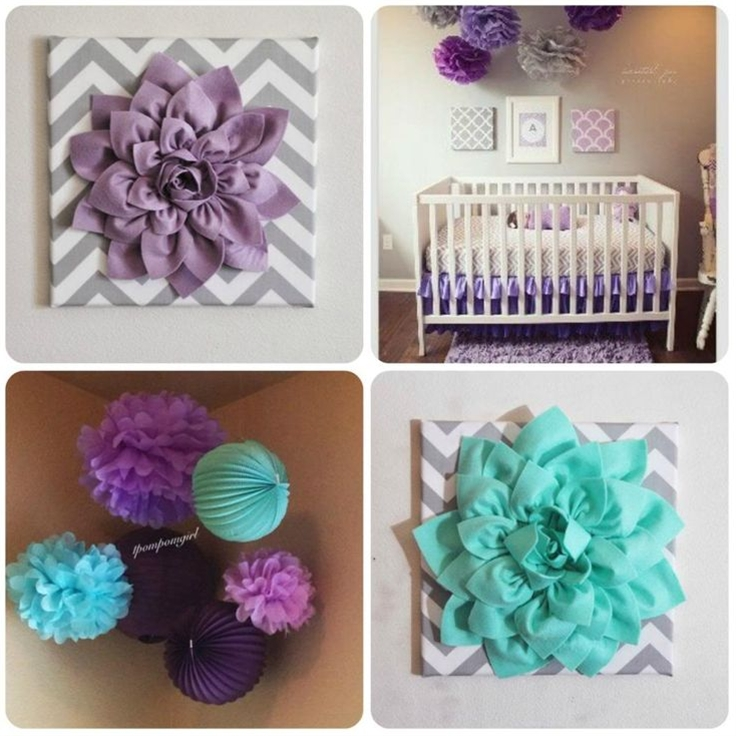 The nursery in the top right is my inspiration and I plan on buying some type of grey printed crib sheet and the wall decor in the collage and the paper poms and lanterns. Oh AND a purple rug =)