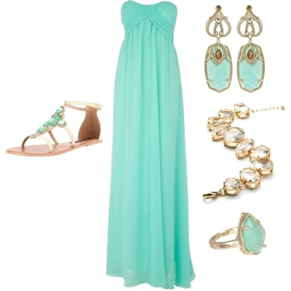 mint-green strapless crossover-top maxidress, gold / mint-green dangly earrings, gold / crystal bracelet, gold / mint-green ring, cream / mint-green jewelled sandals