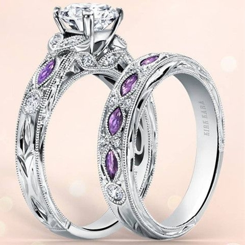 """Kirk Kara Dahlia Marquise Shape Amethyst Diamond Engagement Ring · K1120ADC-R · Ben Garelick Jewelers USE CODE """"PIN10"""" to SAVE 10% off your purchase at checkout - $2990"""