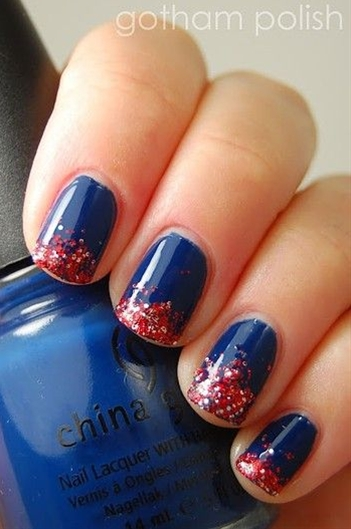 Independence Day manicure will look festive without looking crazy. All you'll need to create these looks are red, white and (you guessed it!) blue polish. Go the extra mile with some glitter polish, rhinestones, and some nails stamps of your liking.