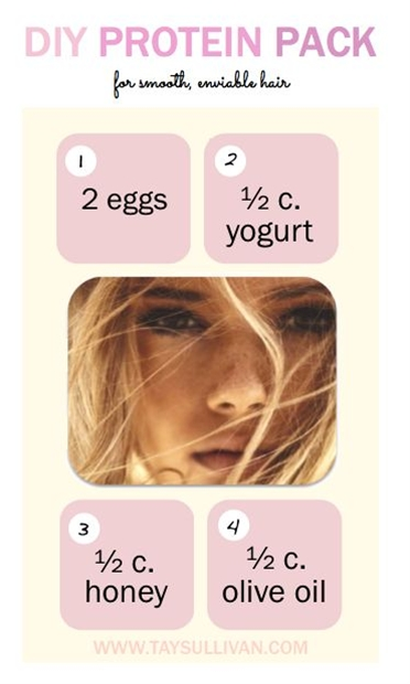 easy, four step do-it-yourself protein mask. Not only will this recipe leave your stands silky smooth and your wallet full, but it'll also benefit the environment as it warrants zero harsh chemicals and toxic ingredients.