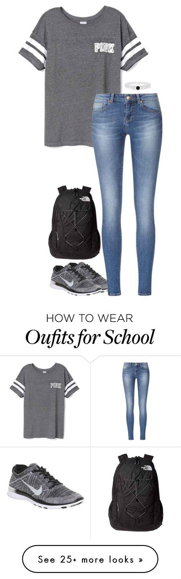 By sassy-and-southern on Polyvore featuring moda, Victoria's Secret PINK, NIKE y The North Face