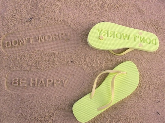 """don't worry, be happy"" Flip Flops"