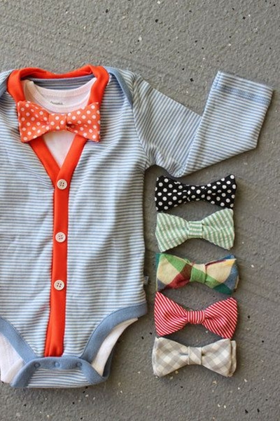This baby cardigan and bow tie onesie set is the perfect way to complete your mini Mr's look
