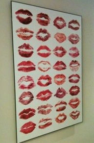 """All the ladies adorn a blank frame with their smooch! Ask them to sign by their print. Great to hang inside """"her"""" closet or bathroom door!"""
