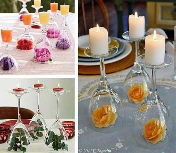 use wine glasses to add decoration to your wedding tables