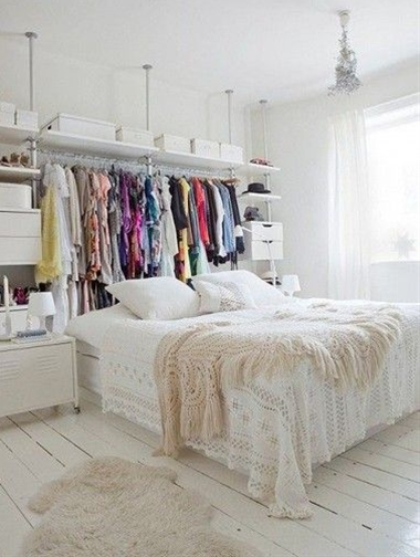 Use your open wardrobe as a bedhead.