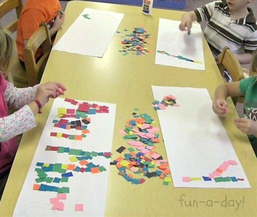Write the child's name on a large piece of white paper.  He then glues scraps of different colored papers to his name.