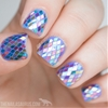 Rainbow Fish Glitter Placement Nail Art
