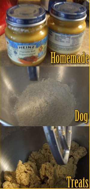Make your own healthy dog treats - easy with baby food and flour.