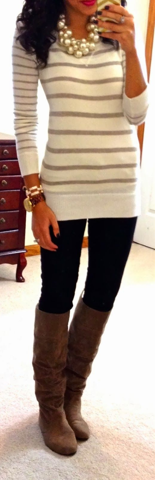Striped sweater,  Dark-wash skinny jeans,  Pearl cluster necklace C/O T+J Designs,   Bracelet c/o Sira & Mara,  Alex Tortoise watch c/o Wristology Watches,  Taupe boots