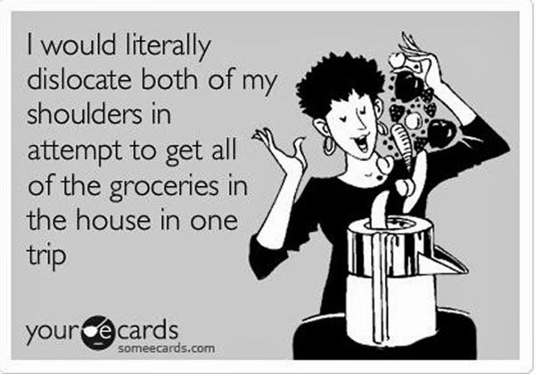 """""""I would literally dislocate both of my shoulders in attempt to get all of the groceries in the house in one trip."""""""
