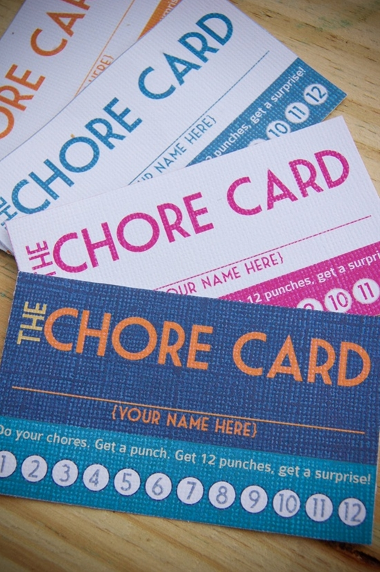 DIY Printable Punch Cards chore cards