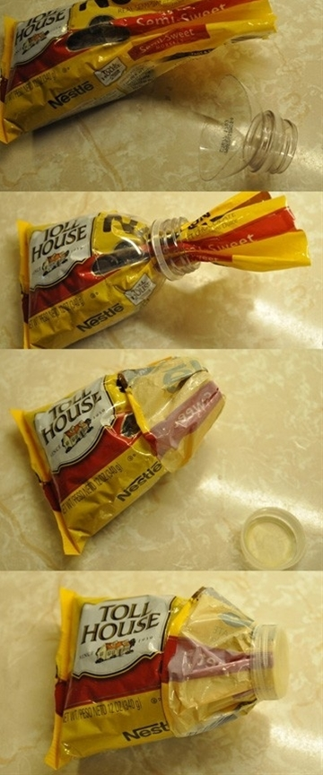 Seal a plastic bag with the top of a water bottle ... Uploaded with Pinterest Android app. Get it here: http://bit.ly/w38r4m