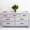 LEKSVIK drawer makeover with whitewash paint and leather