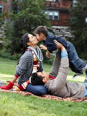 Model Amanda Montoya spends some quality time with her husband, Quetzal, and their 3-year-old son, Marley..